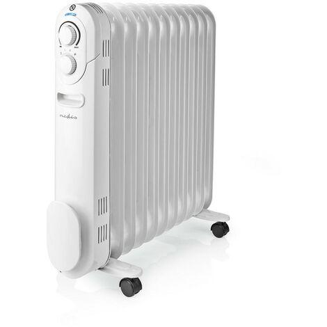 NEDIS Radiateur à Huile Mobile 2 200 W Chauffage d'appoint Blanc