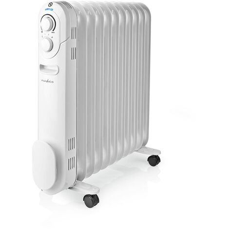 Nedis Radiateur mobile d'huile | 1000 / 1200 / 2200 W | 11 Fins | Thermostat réglable | 3 Réglages de Chaleur | Protection contre les chutes | Blanc NE550716705