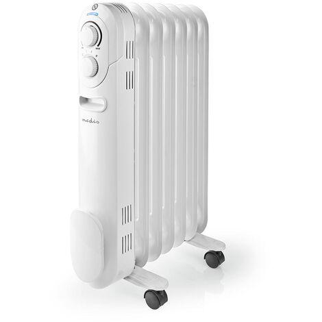 Nedis Radiateur mobile d'huile | 600 / 900 / 1500 W | 7 Fins | Thermostat réglable | 3 Réglages de Chaleur | Protection contre les chutes | Blanc NE550716703