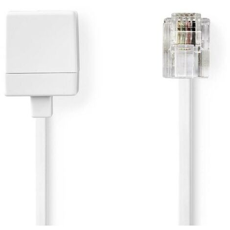 NEDIS Rallonge de Câble de Télécommunication RJ11 Mâle - RJ11 Femelle 10,0 m Blanc