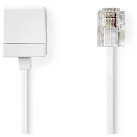 NEDIS Rallonge de Câble de Télécommunication RJ11 Mâle - RJ11 Femelle 5,0 m Blanc