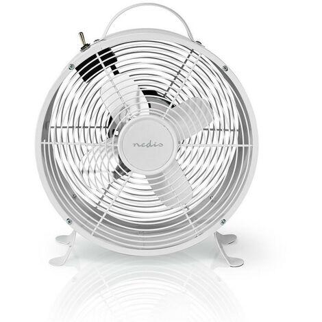 NEDIS Ventilateur de Bureau Rétro  Diamètre 25 cm  2 vitesses  Blanc