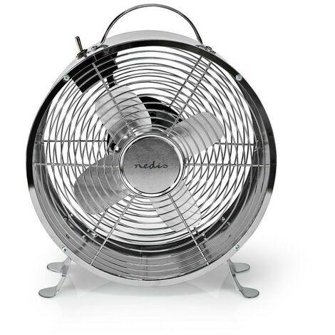 NEDIS Ventilateur de Bureau Rétro  Diamètre 25 cm  2 Vitesses  Chrome