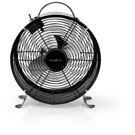 NEDIS Ventilateur de Bureau Rétro  Diamètre 25 cm  2 Vitesses  Noir