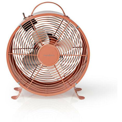 NEDIS Ventilateur de Bureau Rétro  Diamètre 25 cm  2 Vitesses  Rose Vintage