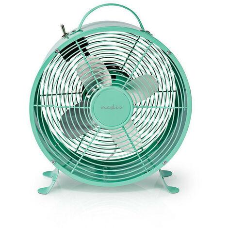 NEDIS Ventilateur de Bureau Rétro  Diamètre 25 cm  2 Vitesses  Turquoise