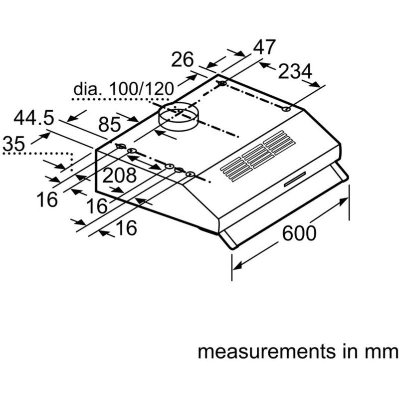 DLAA600W Hotte encastrable 60 cm LED lumière au choix, mode évacuation ou recyclage - Neff