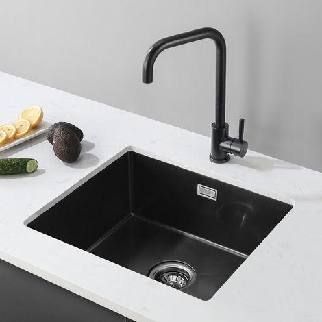 Negro Fregadero Cocina un Seno, 50 x 43 x 18.5 cm Sobre Encimera Cocina Fregadero Cuadrado Engrosado de 304 Acero Inoxidable con Desag