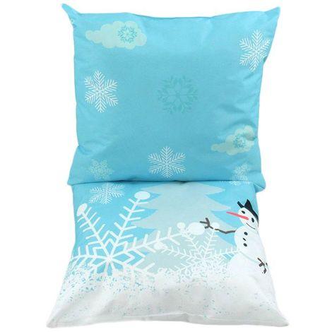 NEIGE - Double coussin sur le thème de la neige blanc et bleu 120x60 - Jaune