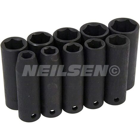 """main image of """"neilsen CT0814 Impact Socket Set-11 Piece 1/2in Drive, Silver"""""""