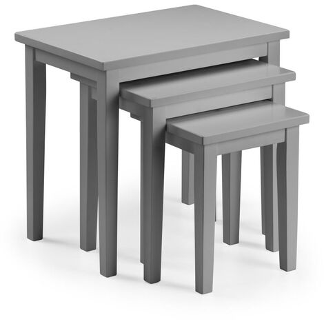 Nell Solid Wood Nest of Three Tables Grey