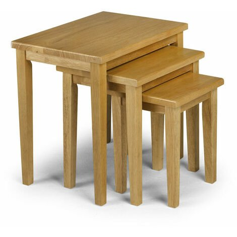 Nell Solid Wood Nest of Three Tables Natural Oak