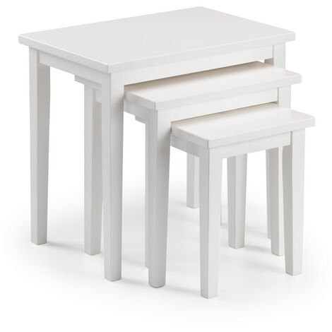 Nell Solid Wood Nest of Three Tables White