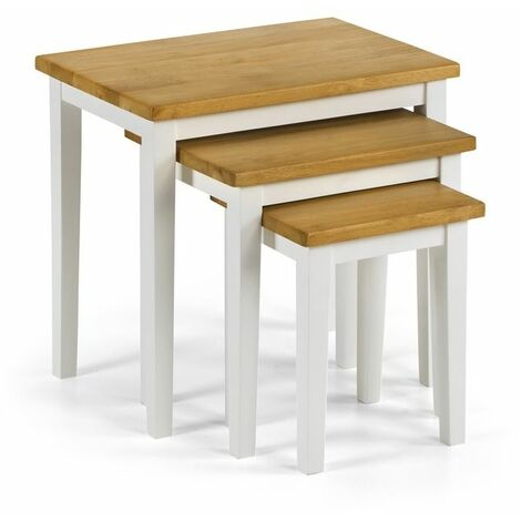 Nell Solid Wood Nest of Three Tables White & Oak