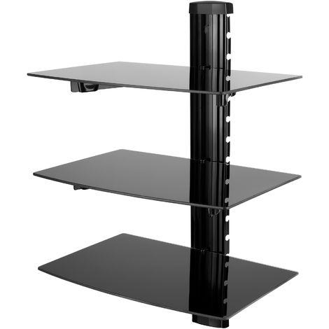 Nemaxx DV03 Estantería multimedia - estantes resistentes de cristal para reproductores de alta definición de DVD, Blueray, videoconsolas - 3 estante de vidrio resistente