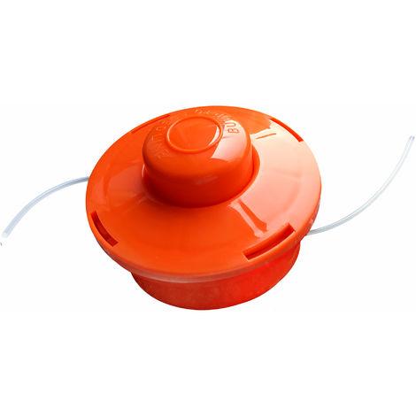 NEMAXX FS1 Fadenspule mit Tippautomatik, Doppelfadenkopf für Benzin Motorsense - Rasentrimmer Fadenkopf, Freischneider Grasschneider, Zubehör Ersatz Spule - Orange