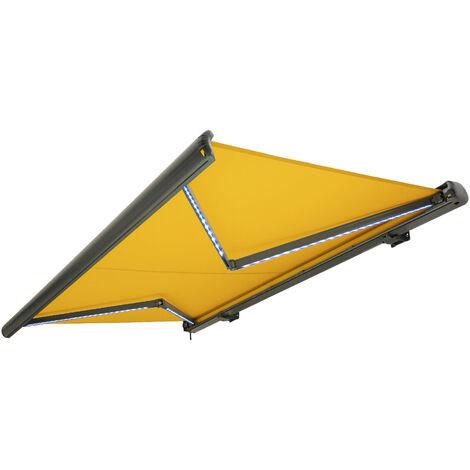 NEMAXX Kassettenmarkise elektrisch Vollkassettenmarkise mit LED, Markise gelb, Kassette anthrazit, Funk Fernbedienung, wasserdicht 350x300 cm (3,5x3m)