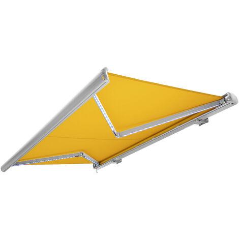 NEMAXX Kassettenmarkise elektrisch Vollkassettenmarkise mit LED, Markise gelb, Kassette weiß, Funk Fernbedienung, wasserdicht 500x300 cm (5x3m)