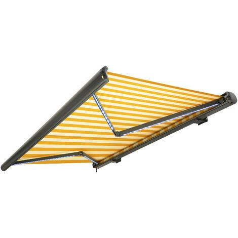 NEMAXX Kassettenmarkise elektrisch Vollkassettenmarkise mit LED, Markise gelb-weiß, Kassette anthrazit, Funk Fernbedienung, wasserdicht 500x300 cm (5x3m)