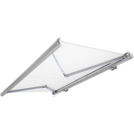 NEMAXX Kassettenmarkise elektrisch Vollkassettenmarkise mit LED, Markise weiß, Kassette weiß, Funk Fernbedienung, wasserdicht 450x300 cm (4,5x3m)