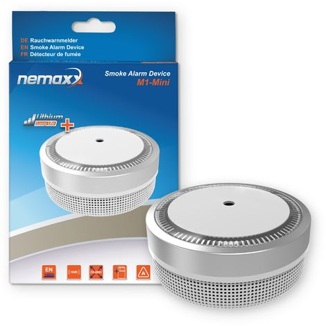 Nemaxx M1-Mini Rauchmelder - sensibler, photoelektrischer Rauchwarnmelder mit Lithiumbatterie Typ DC3V nach DIN EN14604 & VdS - silber