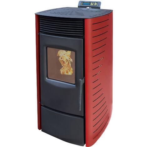 Nemaxx P9 Poêle à granulés insert à pellets insert à granulés insert cheminée- Rouge