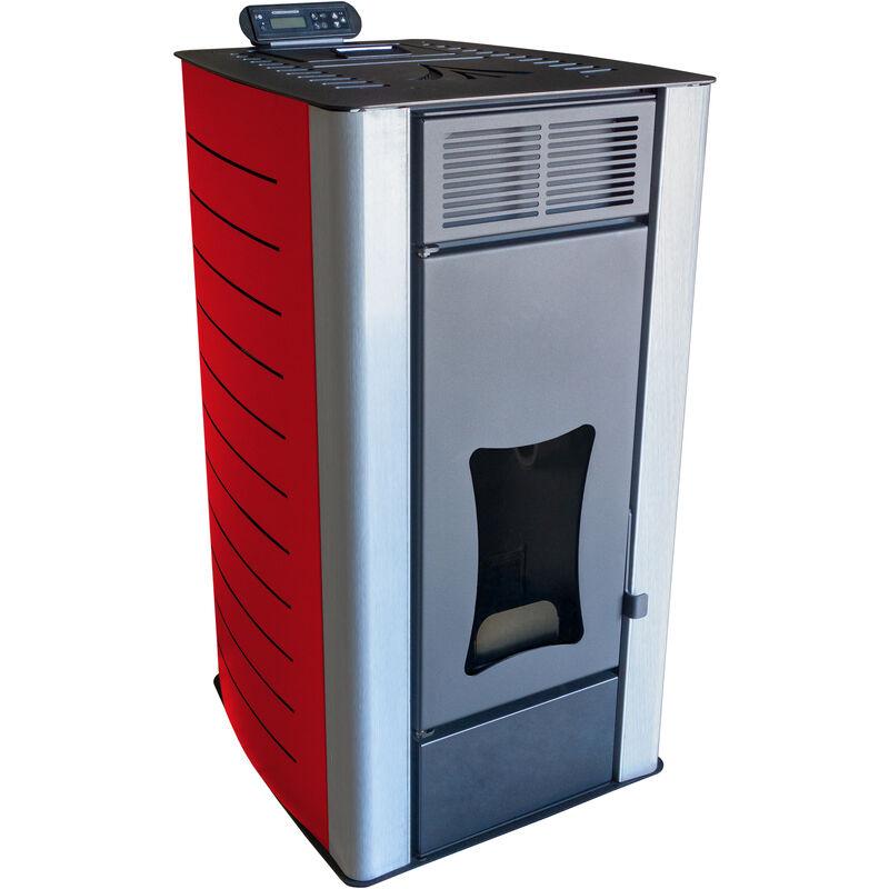Stufa a pellet Nemaxx PW18 RD scambiatore di calore ad acqua da 18 kW per 40 kg di pellet di legno