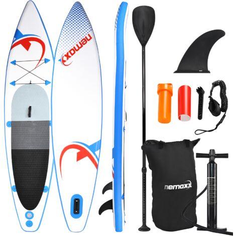 Nemaxx Stand Up Paddle gonflable 335x74x15 cm, bleu/rouge - SUP, planche de surf gonflable et facile à transporter - sac de voyage, pagaie, aileron, pompe à air, kit de réparation, laisse