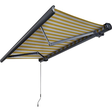 NEMAXX Toldo casete toldo eléctrico exterior con Led, toldo amarillo-blanco, casete antracita, radio control remoto, impermeable 350x300 cm (3,5x3m)