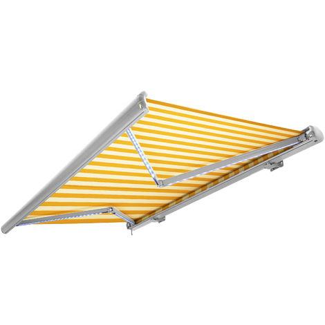 NEMAXX Toldo casete toldo eléctrico exterior con Led, toldo amarillo-blanco, casete blanco, radio control remoto, impermeable 400x300 cm (4x3m)