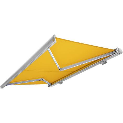 NEMAXX Toldo casete toldo eléctrico exterior con Led, toldo amarillo-blanco, casete blanco, radio control remoto, impermeable 600x300 cm (6x3m)