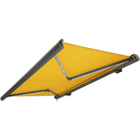 NEMAXX Toldo casete toldo eléctrico exterior con Led, toldo amarillo, casete antracita, radio control remoto, impermeable 350x300 cm (3,5x3m)