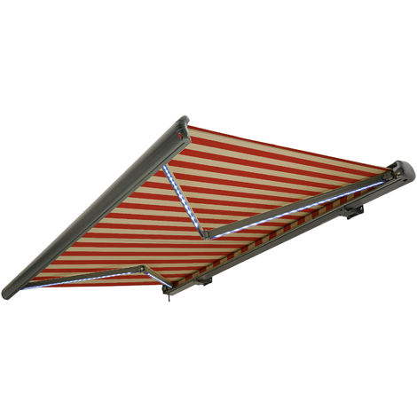 NEMAXX Toldo casete toldo eléctrico exterior con Led, toldo beige-naranja, casete antracita, radio control remoto, impermeable 450x300 cm (4,5x3m)