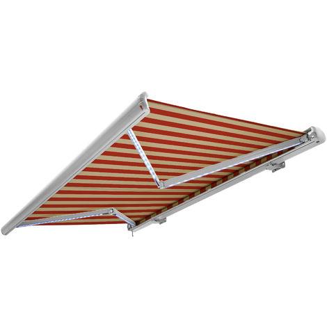 NEMAXX Toldo casete toldo eléctrico exterior con Led, toldo beige-naranja, casete blanco, radio control remoto, impermeable 500x300 cm (5x3m)