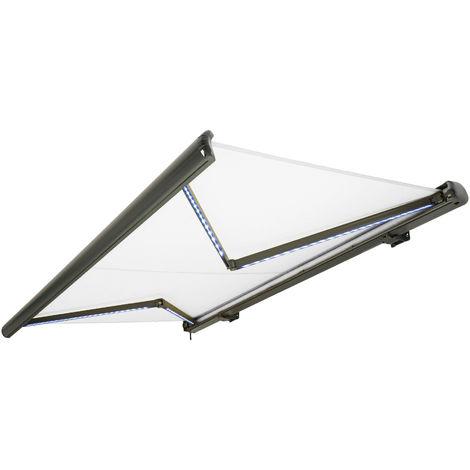 NEMAXX Toldo casete toldo eléctrico exterior con Led, toldo blanco, casete antracita, radio control remoto, impermeable 400x300 cm (4x3m)