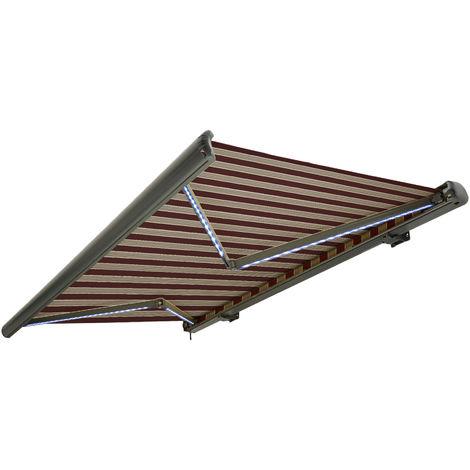 NEMAXX Toldo casete toldo eléctrico exterior con Led, toldo burdeos-blanco-marrón, casete antracita, radio control remoto, impermeable 350x300 cm (3,5x3m)