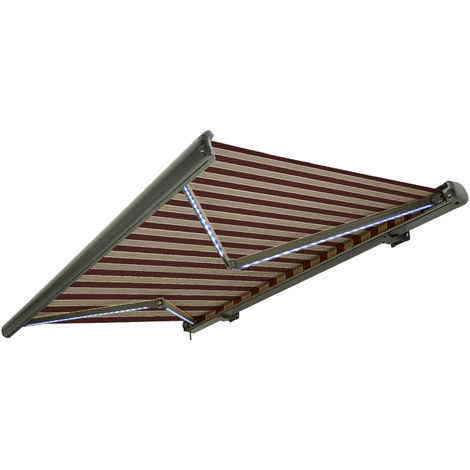 NEMAXX Toldo casete toldo eléctrico exterior con Led, toldo burdeos-blanco-marrón, casete antracita, radio control remoto, impermeable 400x300 cm (4x3m)