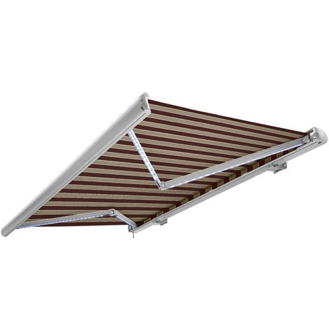 NEMAXX Toldo casete toldo eléctrico exterior con Led, toldo burdeos-blanco-marrón, casete blanco, radio control remoto, impermeable 400x300 cm (4x3m)
