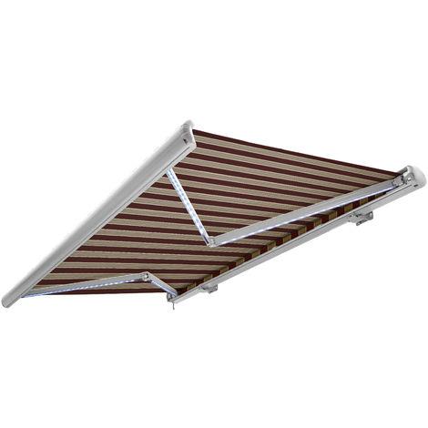NEMAXX Toldo casete toldo eléctrico exterior con Led, toldo burdeos-blanco-marrón, casete blanco, radio control remoto, impermeable 500x300 cm (5x3m)