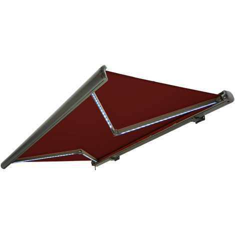 NEMAXX Toldo casete toldo eléctrico exterior con Led, toldo rojo vino, casete antracita, radio control remoto, impermeable 400x300 cm (4x3m)