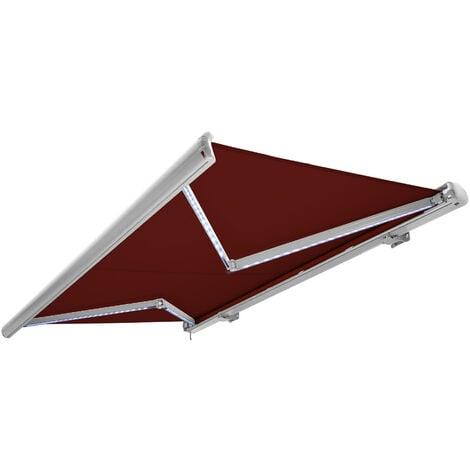 NEMAXX Toldo casete toldo eléctrico exterior con Led, toldo rojo vino, casete blanco, radio control remoto, impermeable 350x300 cm (3,5x3m)