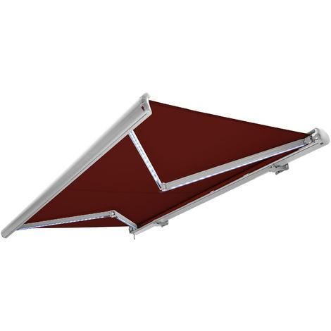 NEMAXX Toldo casete toldo eléctrico exterior con Led, toldo rojo vino, casete blanco, radio control remoto, impermeable 400x300 cm (4x3m)