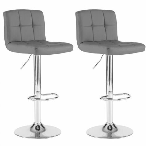 Neo 2x Dark Grey Faux Leather Cuban Swivel Bar Stools