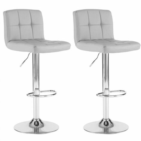 Neo 2x Grey Faux Leather Cuban Swivel Bar Stools