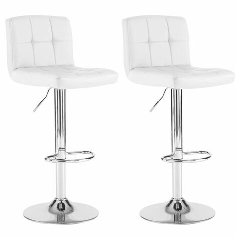 Neo 2x White Faux Leather Cuban Swivel Bar Stools
