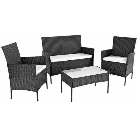 Neo Black 4 Piece Rattan Outdoor Furniture Garden Sofa Set