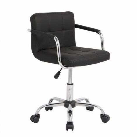Neo Black Cushioned Faux Leather Office Chair with Chrome Legs