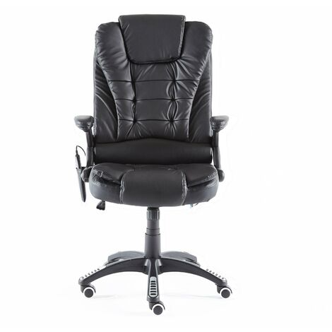 Neo Black Faux Leather Executive Recliner Swivel Office Chair - With Massage Function