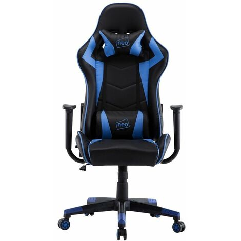 Neo Blue Adjustable Racing Gaming Office Swivel Recliner Leather Chair