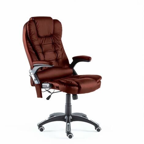 Neo Burgundy Faux Leather Executive Recliner Swivel Office Chair - With Massage Function